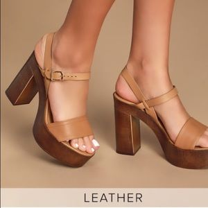 Steve Madden Laurisa Tan Leather Wooden Platforms